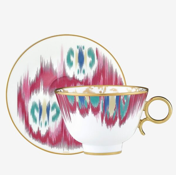 voyage en ikat tazza te con piatto