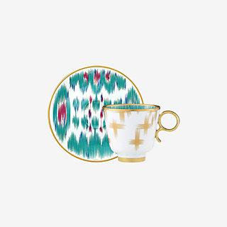 voyage en ikat tazza caffè con piatto